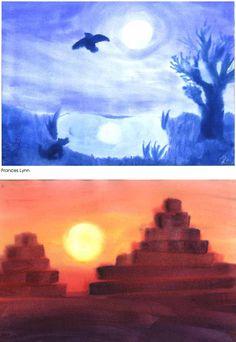 Waldorf ~ 5th grade~ Ancient Mesopotamia ~ Ziggurat ~ watercolor painting