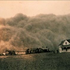 A dust storm invaded Stratford, Texas, on April 18, 1935. It became known that the reason this occurred is from the soil being so parched due to drought & from the farmers 'not' rotating their crops. These storm in our history is where the term 'dust bowl' or 'dry as a dust bowl'  came from.