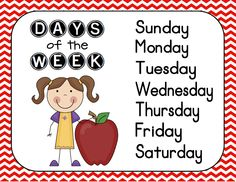 Days of the week chevron poster