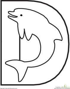 This fun alphabet coloring page will have your child coloring a diving dolphin while learning the shape and sound of the letter D.