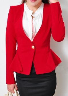Red Long Sleeve Shoulder Pads Ruffles Suit