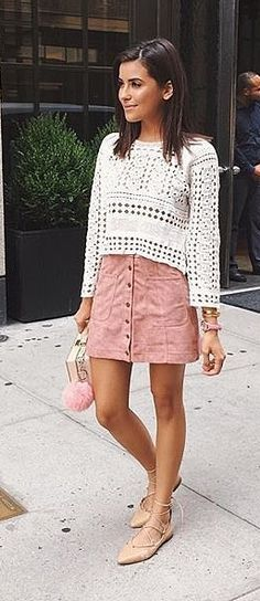 Pinterest: @eighthhorcruxx. A crochet top and button-front skirt with lace-up flats.