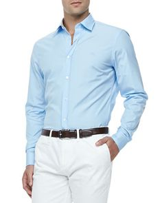 Slim-Fit Stretch-Cotton Dress Shirt, Pale Blue  by Burberry Brit at Neiman Marcus.