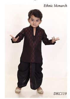 This brown brocade kurta has motive in front.It comes along with black dhoti.Mojari shown is for modelling purpose only. Baby Boy Ethnic Wear, Kids Ethnic Wear, Baby Boy Fashion, Kids Fashion, Boys Wedding Suits, Kids Indian Wear, Boys Kurta Design, Kids Party Wear, Baby Boy Dress