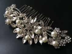 Wedding hair comb Bridal hair comb Barrette clip by weddingvalle