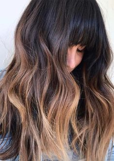 55 Dope Long Haircuts with Bangs: Tips for Wearing Fringe Hairstyles - 55 Long Haircuts with Bangs for Tips for Wearing Fringe Hairstyles – Glowsly - Balayage With Fringe, Bangs And Balayage, Balayage Hair Brunette With Blonde, Balayage Hair Copper, Balayage Hair Caramel, Hair Color Balayage, Brunette Bob With Bangs, Long Haircuts With Bangs, Long Hair With Bangs