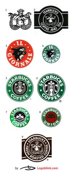 """The first logo of Starbucks resembled a """"cigar band"""" (#2) with a Melusine (#1 – the two tailed mermaid) inscribed in it. Sirens or otherwise known as mermaids were believed to be seducers. There is an obvious psychological association between the lure of the fresh roasted coffee, spices, or tea and that of the mythological enchanting creatures. Michael Krakovskiy is giving some valuable and interesting information on the Starbucks logo creation in his web-post """"How the Starbucks Siren…"""