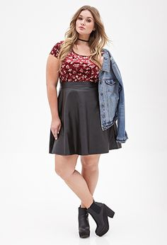 Floral Print Velveteen Top | FOREVER21 PLUS - Size 1X BOTH COLORS