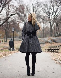 Cool coat + opaque tights and boots
