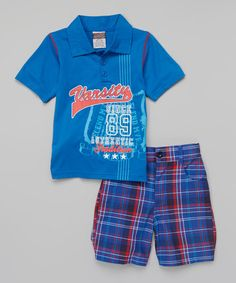 "Tuff Guys blue ""Varsity"" polo & plaid shorts on Zulily."
