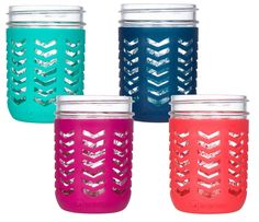 Package of 4 | Silicone Mason Jar Sleeves - Fits 16oz (1 pint) Wide-Mouth Jars | Multicolor
