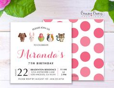 Pets Childs Birthday Invitation - Baby, Toddler, Kids Adopt a Pet Birthday Party Invite - Pet Animals Party - Digital File  All designs can be