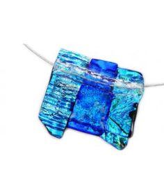 Handgemaakte blauw-groene glazen hanger van luxe dichroic glas!