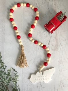 Little Red Vintage Truck Happy Holidays Christmas Farmhouse Wood Bead Garland Christmas Tree Farm, Rustic Christmas, All Things Christmas, Happy Holidays, Christmas Holidays, Christmas Decorations, Christmas Bead Garland, Christmas Ornament, Christmas Ideas