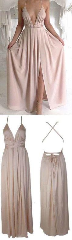 Blush Pink prom dressesSexy Prom dressBackless prom dressPlunge V Neck evening gownsSlit prom dresslong prom dressCriss cross straps prom dress