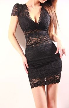 Sexy V-neckline Short Sleeve Lace Dress
