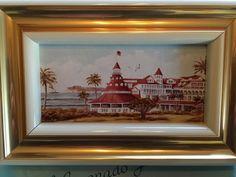 Vintage Hotel del Coronado Painting Framed In Original Gift Box With Bag  | eBay