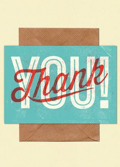 Postcard design type illustration vintage retro thank you