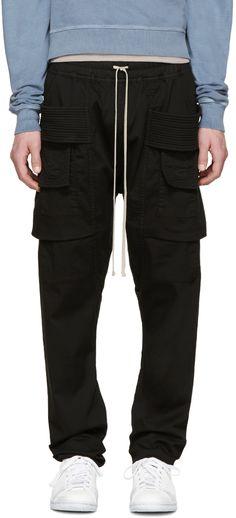 Rick Owens Drkshdw: Black Creatch Cargo Trousers | SSENSE