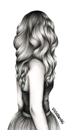 Drawing hair is my forte. This black and white sketch drawing of a girl with long wavy hair is one of my popular hair drawings. If you are (Cool Art Drawings) Amazing Drawings, Love Drawings, Beautiful Drawings, Drawing Sketches, Pencil Drawings, Amazing Art, Art Drawings, Sketching, Hipster Drawings