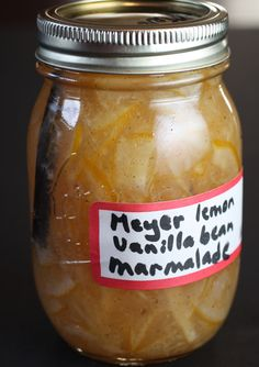 Meyer Lemon and Vanilla Bean Marmalade.  Easy recipe and tastes divine!  Love love love it.  I upped the proportions (because I'm inundated with lemons) and it still gelled at the 30 minute point.  Nice firm set with no pectin.  Woot!