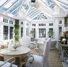A white conservatory.  Old fashioned.  Love it.