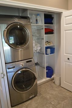 Small laundry rooms laundry1 house ideas pinterest for Tiny house stackable washer dryer