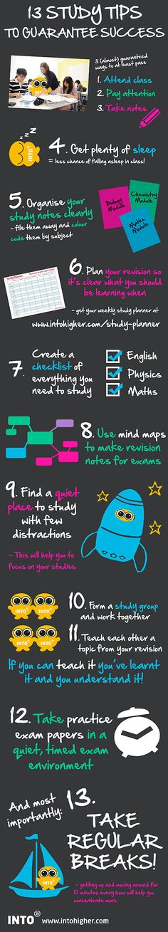 13 study tips to guarantee success. infographic studytips studyabroad class teacher student learn school college ideas tips College Hacks, School Hacks, College Life, College Ready, College Success, Exam Success, Academic Success, Student Success, Success Quotes