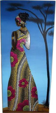 puntillismo This would make a wonderful mosaic. Dot Art Painting, Mandala Painting, Mandala Art, Black Women Art, Black Art, African Beauty, African Women, Afrique Art, African Paintings