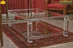 Lucite Acrylic coffe table - TAVOLINI DA SALOTTO IN PLEXIGLASS | Tavolo trasparente in plexiglas 01.mod.   A DUE TELAI   | Tavolino plexiglass cm.130 x 80 h.40 - telai sp.mm.25 - gambe sez.mm.60 - gola singola sulle gambe