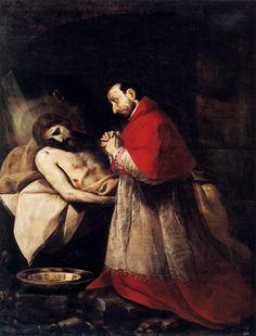 Saint Charles Borromeo Meditating on the Dead Christ byGiovan Battista Crespi