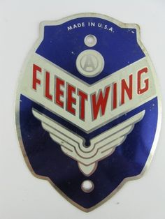VINTAGE FLEET WING BICYCLE HEAD BADGE