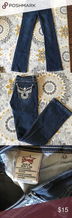 Like new dark wash jeans BLING! Nice jeans never worn. LA Idol Jeans Boot Cut