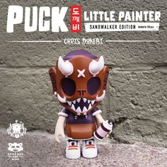 Puck Little Painter Sand Walker 13cm vinyl figure by Chris Dokebi x Strangecat Toys PREORDER Vinyl Toys, Vinyl Art, Burgundy Color, Purple, Designer Toys, Custom Vinyl, Color Pallets, Goblin, Cat Toys