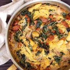 """Sausage and Kale """"Pasta"""" Casserole- this is a great low carb meal that uses spaghetti squash instead of pasta."""