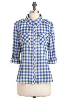 Gingham Estilo Top - Azul, Branco, Checkered / Guingão, botões, Palas, Pockets, Manga, Casual Longo, Outono, Rústico, Comprimento Médio