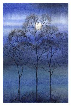 'Winter Moon 3' (landscape, watercolor) by Barbara Fox.