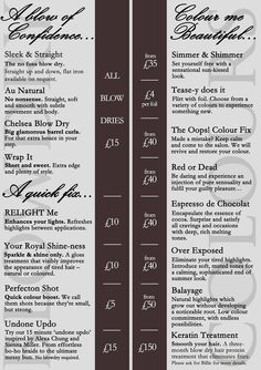 This is our sexy Express Blow Dry Bar menu! Blow Out Bar, Dry Bars, Beauty Blender Video, Salon Names, Budget Book, Salon Business, Salon Services, Bar Menu, Funny Dating Quotes