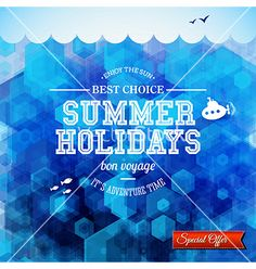 Summer design poster for summer holidays hexagon vector by alevtina on VectorStock®