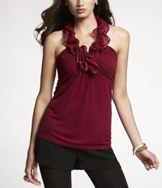 RUFFLED-NECK HALTER TOP  Style: 6379610  $49.90