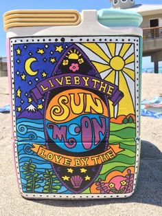 live by the sun love by the moon cooler side Trippy Drawings, Art Drawings, Cooler Painting, Sorority Crafts, Hippie Art, Posca, Psychedelic Art, Doodle Art, Diy Art