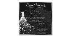 Elegant, glamorous black, white and silver Bridal Shower invitations with a beautiful sparkling diamonds white wedding gown on a chic black damask pattern background with sophisticated silver swirls and flourishes and a pretty silver border.  Classy, trendy, feminine, sophisticated, modern invites.  All of the text can be easily customized to meet your needs and you can change the font style, color and size of font if you desire.  If you need any assistance customizing your product please…