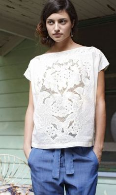 gorgeous lace and cutwork embroidered blouse, antik batik Lacey Pattern, Lace Outfit, Cool Style, My Style, Boho Fashion, Fashion Design, Couture, Mode Inspiration, Contemporary Fashion