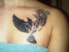 This was my second tattoo. Its a black bird, branching off into a tree. I chose this piece because it represents the death of my past. Black birds represents death and mourning. I said goodbye to my past, therefore the bird flying away is a new life being born; hence the tree which symbolizes a new life.