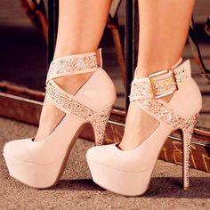 Fashionable Ankle Wrap Platform Heels