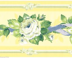 Yellow Blue Ribbon Rose Flower Floral Garland Wall paper Border #YORK