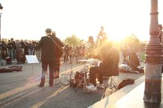 A swing band plays on the Seine at sunset - do you think this would work on the canals? @positively_brum