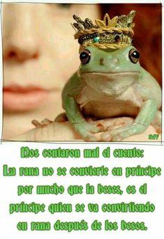 Nos contaron mal el cuento: La rana no se convierte en príncipe por mucho que la beses, es el príncipe quien se va convirtiendo en rana después de darle besos.
