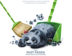 Dust Panda - Word Play by Cryptid-Creations on DeviantArt Pretty Animals, Colorful Animals, Cute Baby Animals, Mythical Creatures Art, Cute Creatures, Cute Animal Drawings Kawaii, Cute Drawings, Animal Puns, Cute Fruit