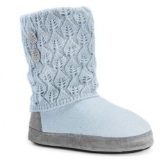 MUK LUKS Women's Sofia Pointelle Knit Boot Slippers ($31) ❤ liked on Polyvore featuring shoes, slippers and light blue